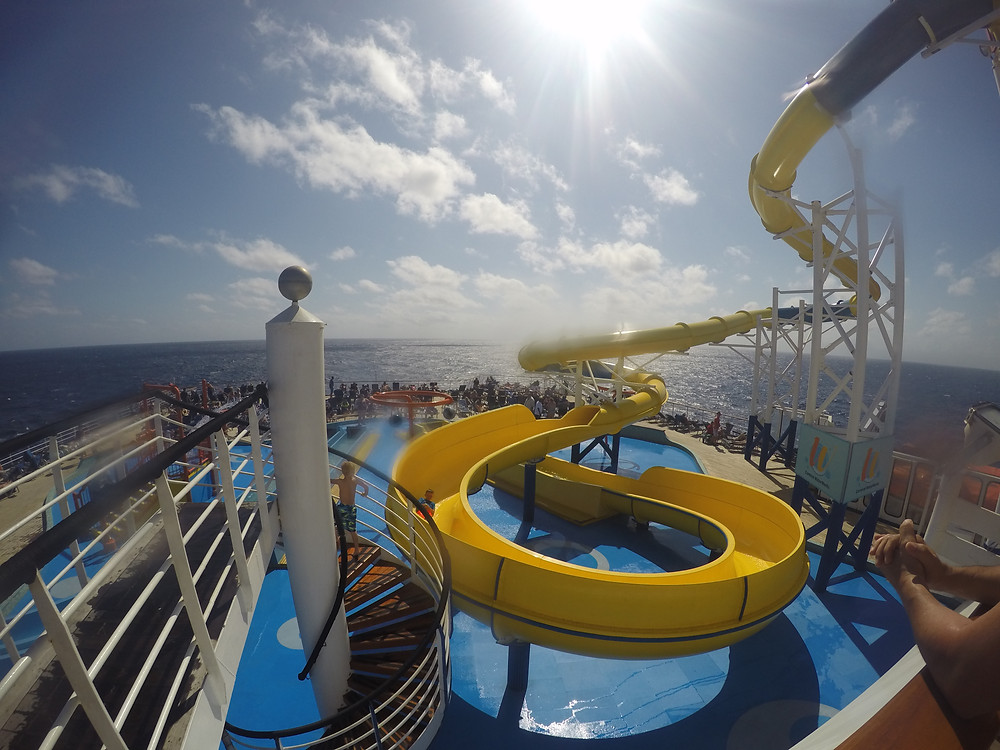 The Twister water slide on the Carnival Ecstasy