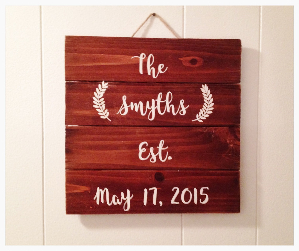 Rustic wooden anniversary date sign. Sweet Frivolity.