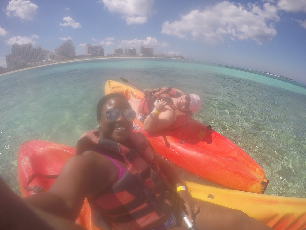 Kayaking in the ocean with my best friend in Nassau