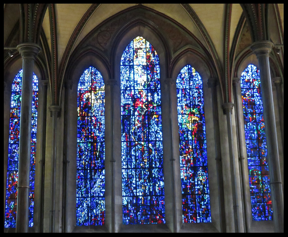 Stained glass windows at Salisbury Cathedral, Salisbury, England