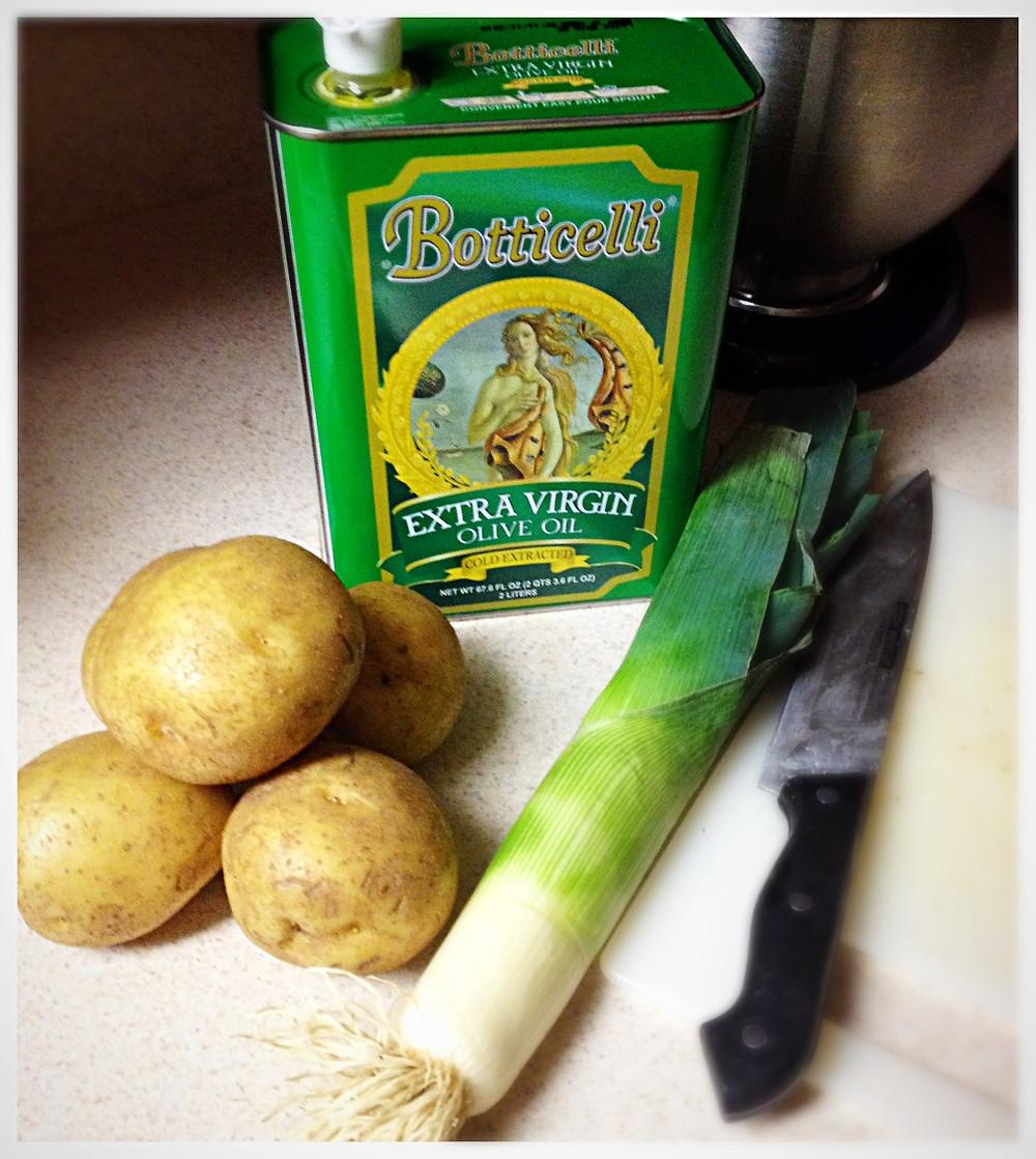 Ingredients for potato leek soup
