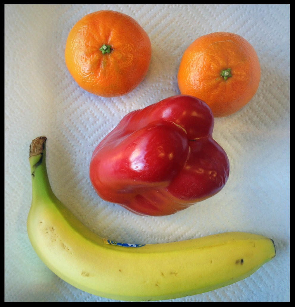 Fruit and vegetable smiley face fitness