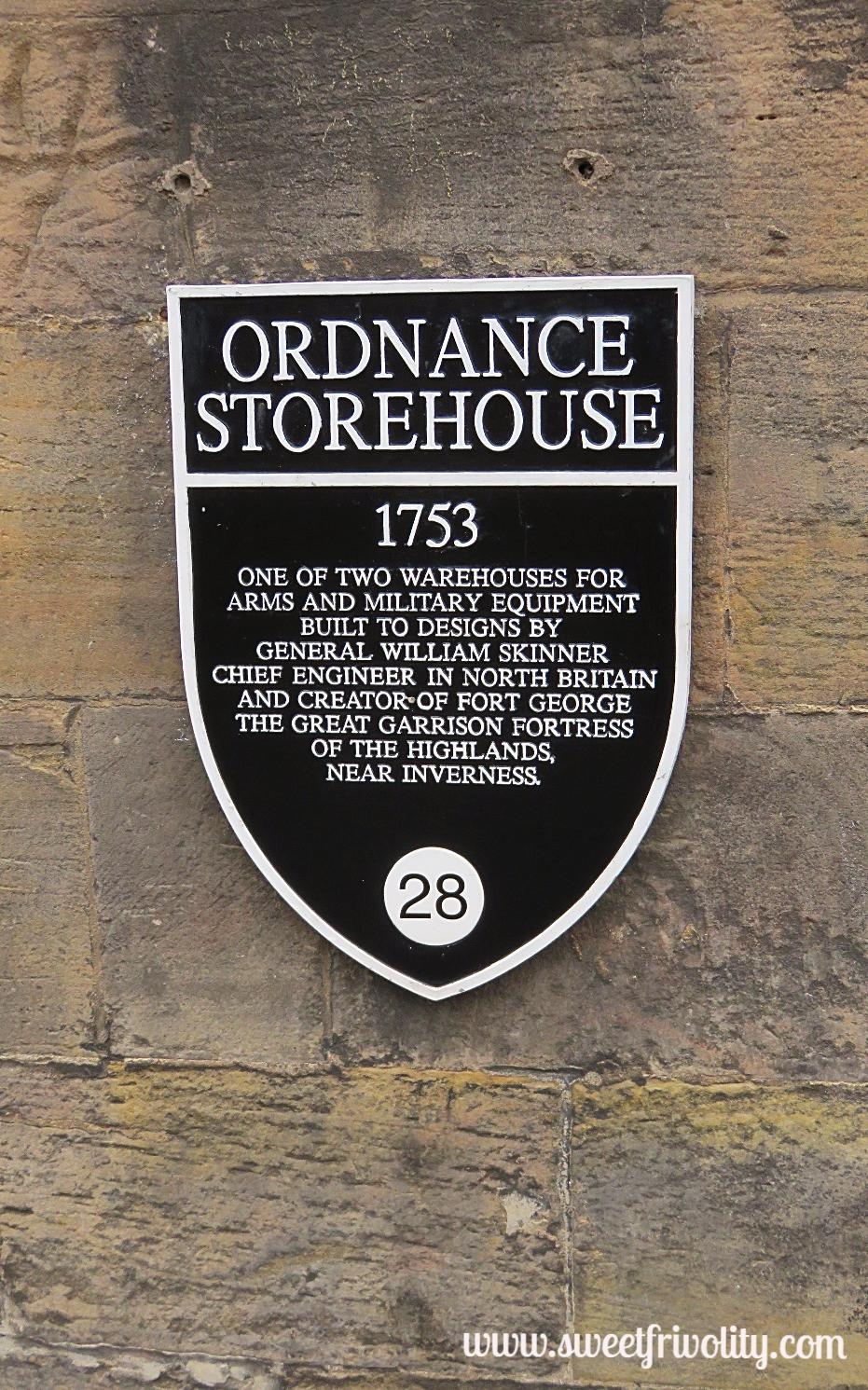 Ordnance Storehouse Sign at Edinburgh Castle