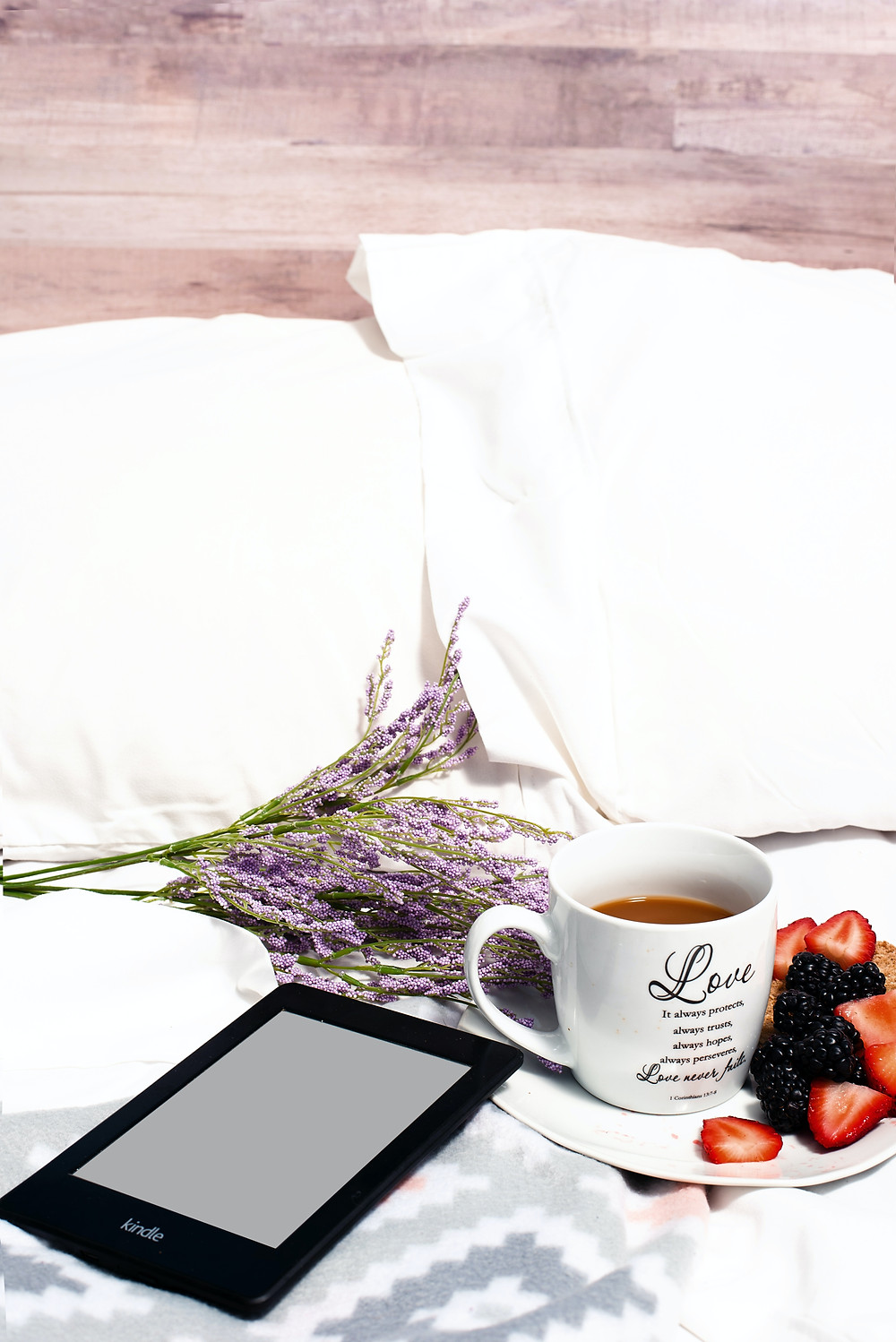 Flowers, e-reader, coffee, and breakfast in bed for Mother's Day 2020