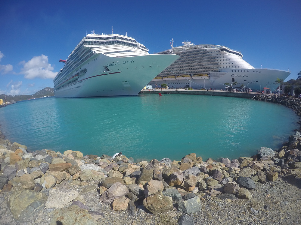 Carnival and Royal Caribbean cruise ships side by side in St. Thomas