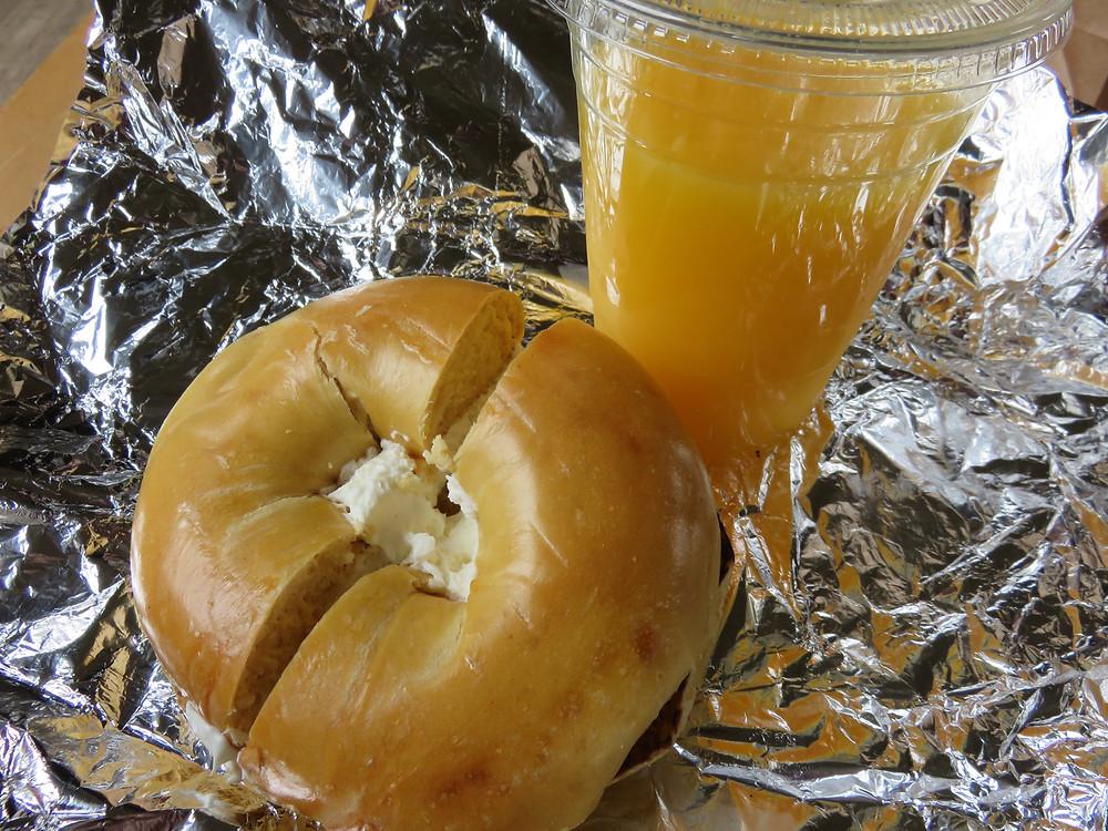 Bagel and orange juice, Quincy Market, Boston
