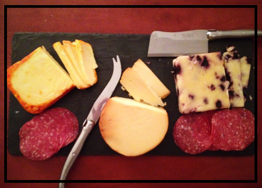 Cheese board with salami