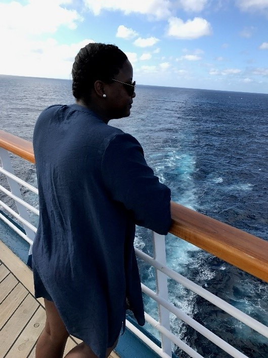 Gazing out into the ocean on the Carnival Ecstasy