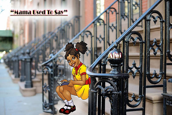 Harlem brownstone steps with young Afwi.