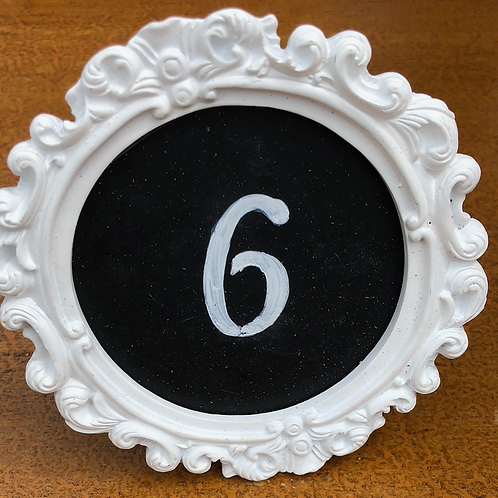 Table Numbers - White Chalkboard Frame