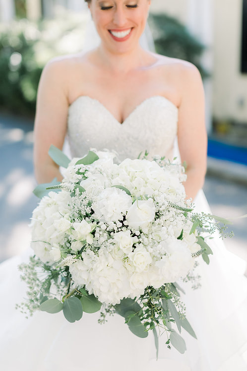 White + Green Bridal Bouquet