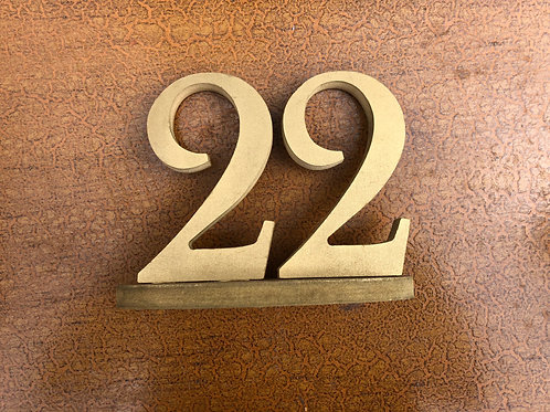 Table Numbers - Gold Wooden Free Standing