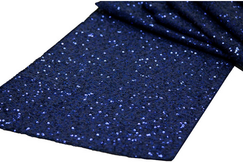 "Navy Blue Sequin - 108"" Round"