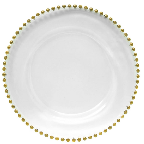Charger Plate - Clear Glass With Gold Beading