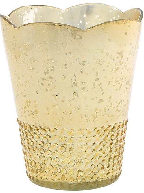 "Mercury Glass Vase - Gold - 6""x7.5"""