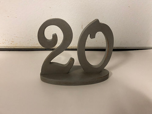 Table Numbers - Grey Wooden Free Standing