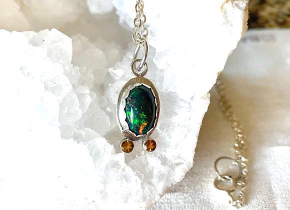 Welo Black Opal & Citrine Necklace