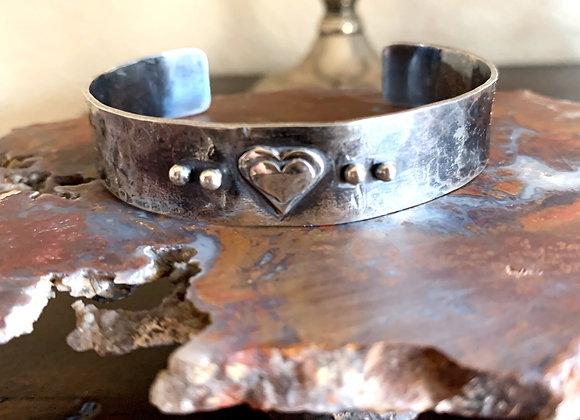 Hammered Heart Cuff Bracelet