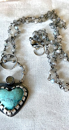 Red River Turquoise Heart & Labradorite Necklace