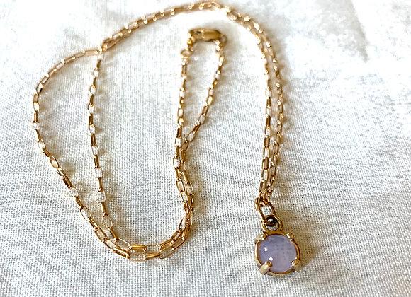 14 KT Yellow Gold Lavender Quartz Necklace