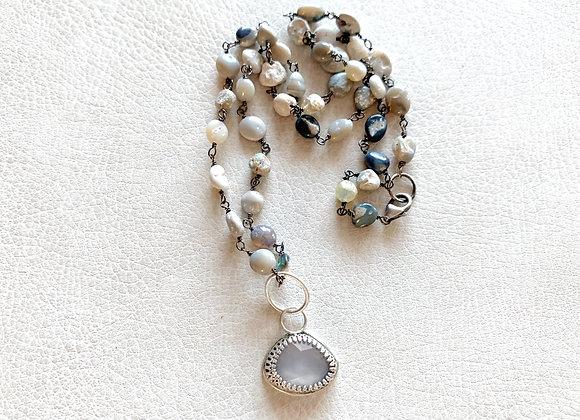 Blue Chalcedony & Australian Boulder Opal Necklace
