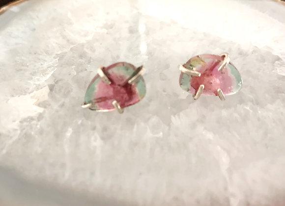 Watermelon Tourmaline Slice Post Earrings