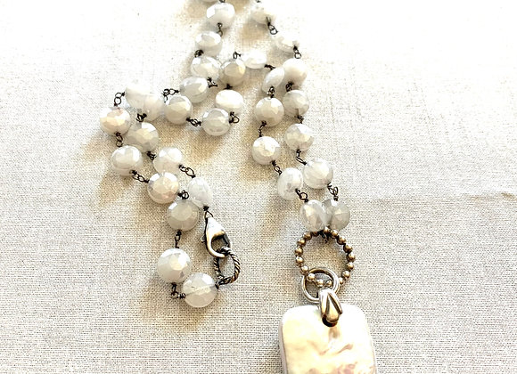 Large Coin Pearl & Mystic Moonstone Necklace
