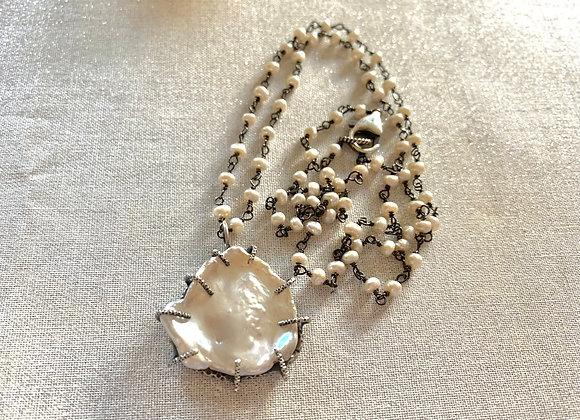 White Keishi Petal Pearl Necklace