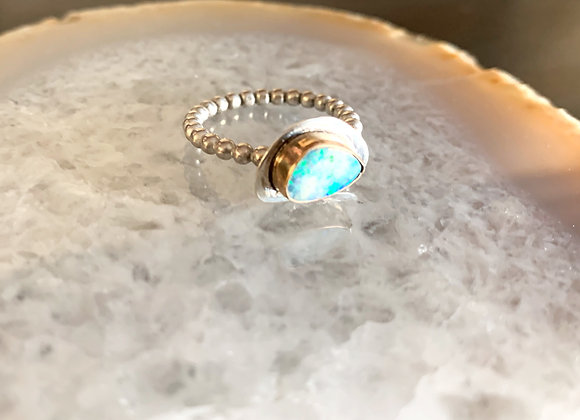 Australian Boulder Opal Mixed Metal Ring