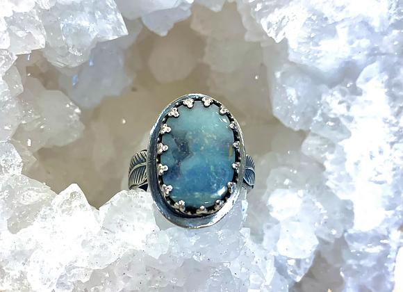 Australian Boulder Opal Leaf Ring
