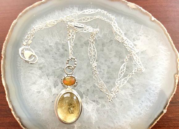 Citrine & Welo Opal Gemstone Necklace