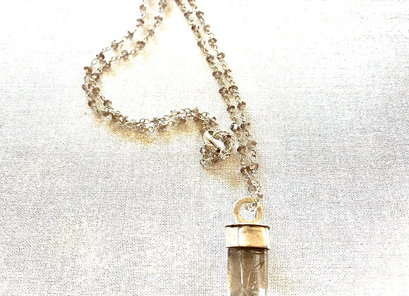 Rutilated Quartz Crystal & Zircon Necklace