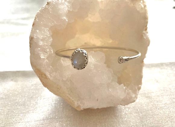 Rainbow Moonstone Front Cuff Bracelet