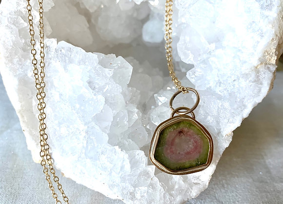 Yellow Gold Filled Watermelon Tourmaline Slice Necklace