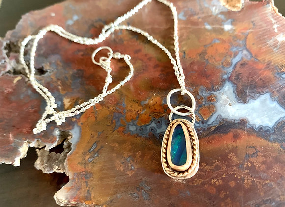Mixed Metal Australian Boulder Opal Necklace