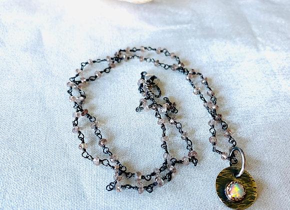 Welo Opal & Champagne Zircon Necklace