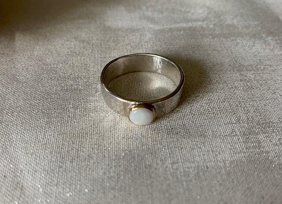 Australian White Opal mixed metal gemstone ring
