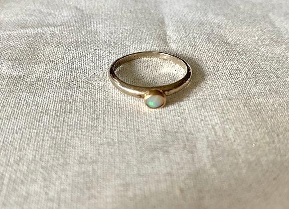 Petite Australian Opal White & Yellow Gold Ring