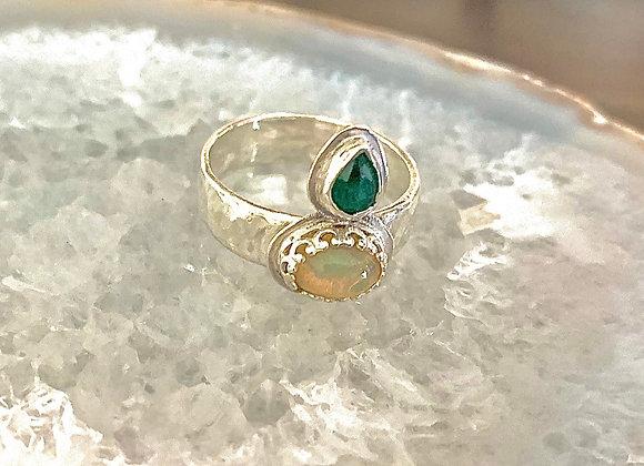Emerald & Welo Opal Ring