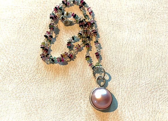 Pink Mabe Pearl & Watermelon Tourmaline Necklace