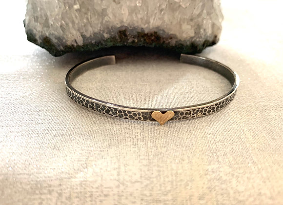 Sterling Silver Cuff with 14 kt Yellow Gold Heart