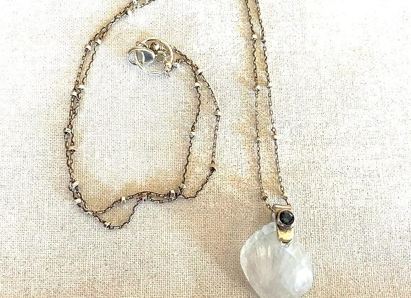 Rainbow Moonstone & Blue Quartz Necklace