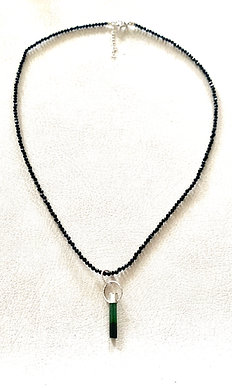 Green Tourmaline Point & Black Spinel Necklace