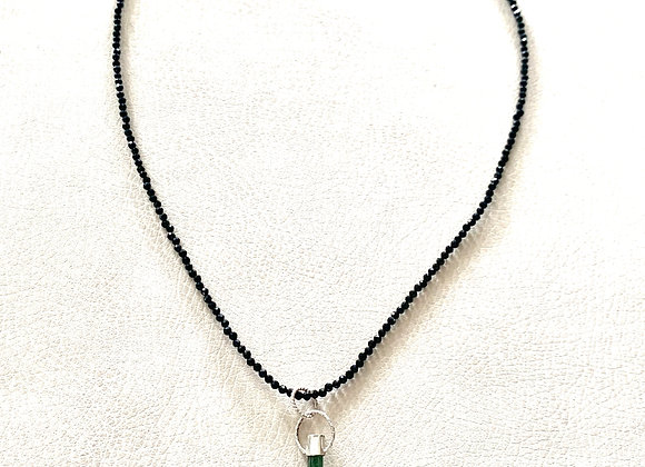 Green Tourmaline Point & Black Spinel Necklace