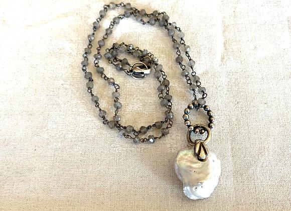Keishi Freshwater Pearl & Labradorite Necklace