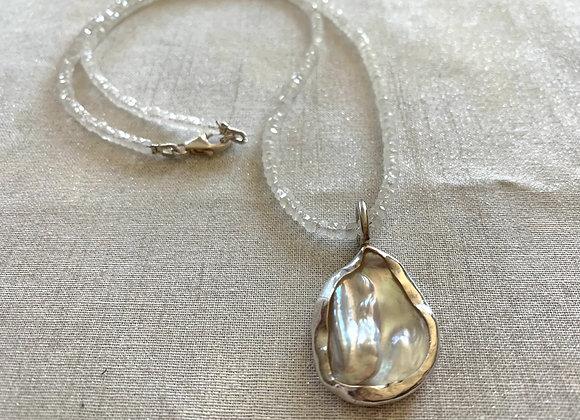 Large Petal Keishi Pearl & Rainbow Moonstone Necklace
