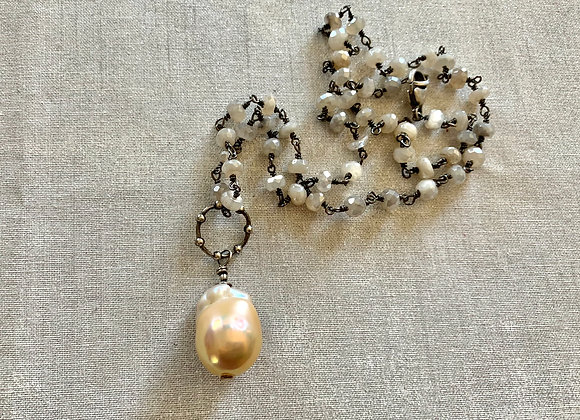 Peachy Flameball Pearl & Moonstone Necklace