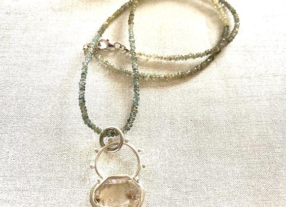 Herkimer Diamond & Moss Aquamarine Necklace