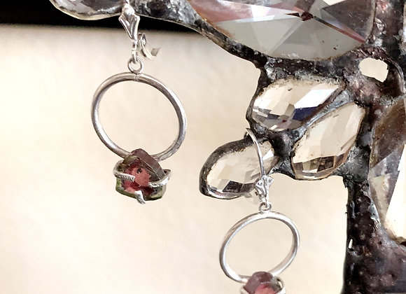 Watermelon Tourmaline Hoop Earrings
