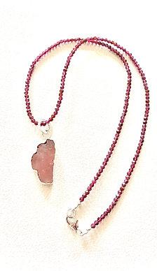Rose Quartz & Rhodolite Garnet Lake Tahoe Necklace